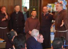 Fr. Paul, Guardian, congratulates Manuel